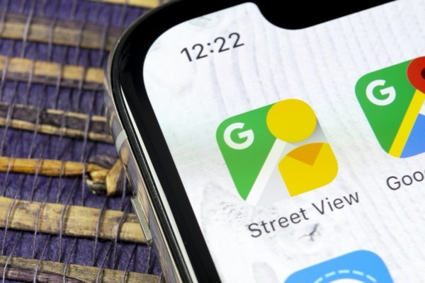Phone with Google map icon displayed.