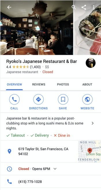 Ryoko's Japanese Restaurant & Bar Google my business listing.