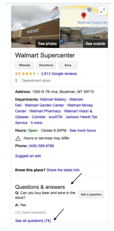 Walmart super center search results.
