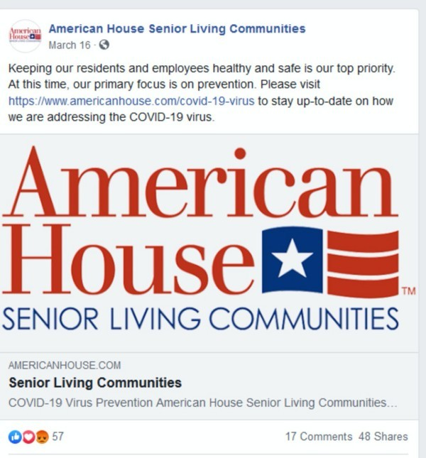 American House senior living COVID-19 communication.