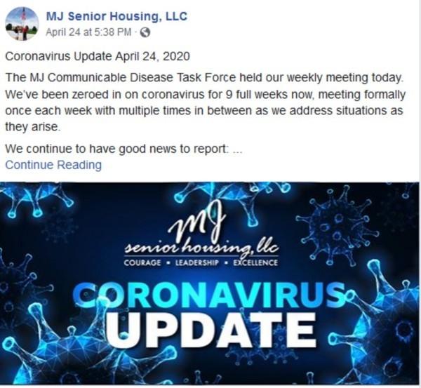 Coronavirus update from MJ Senior Housing.