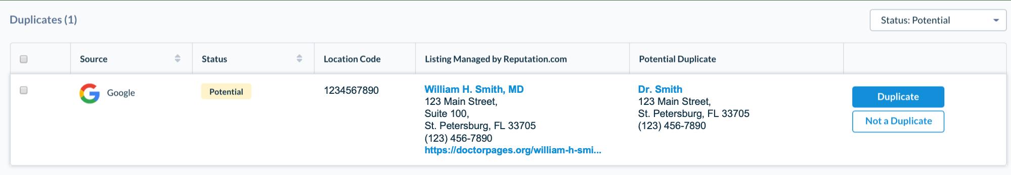 Duplicate business listings screen shot.