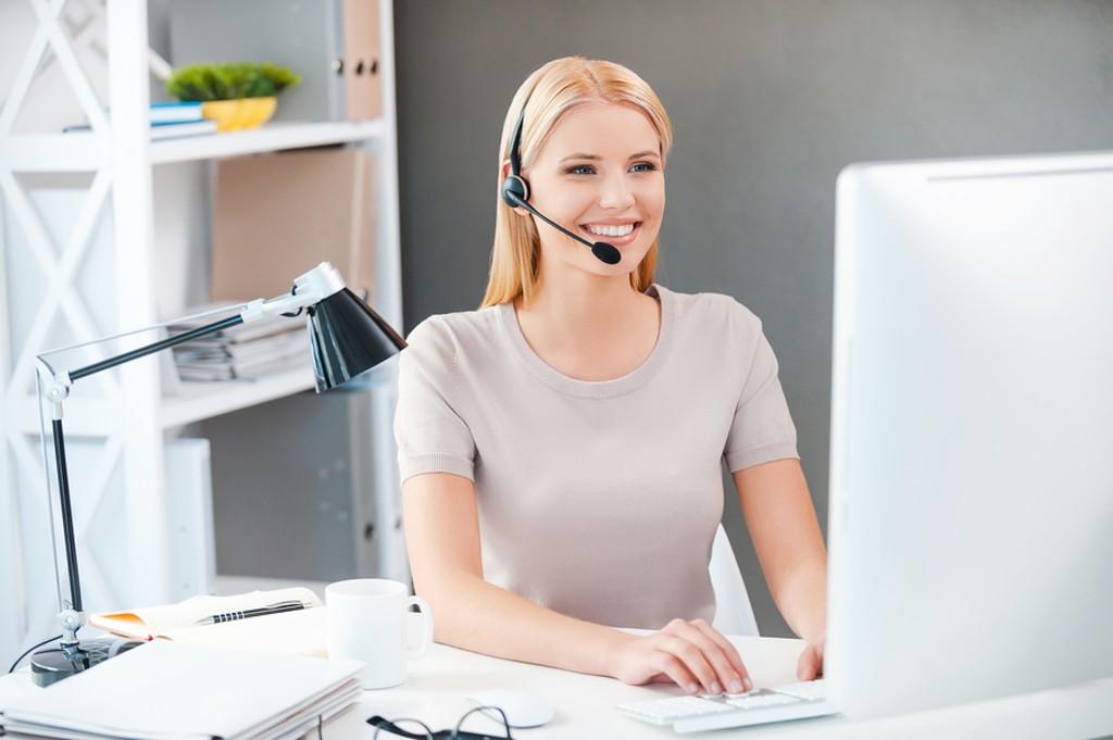 Smiling customer service rep.