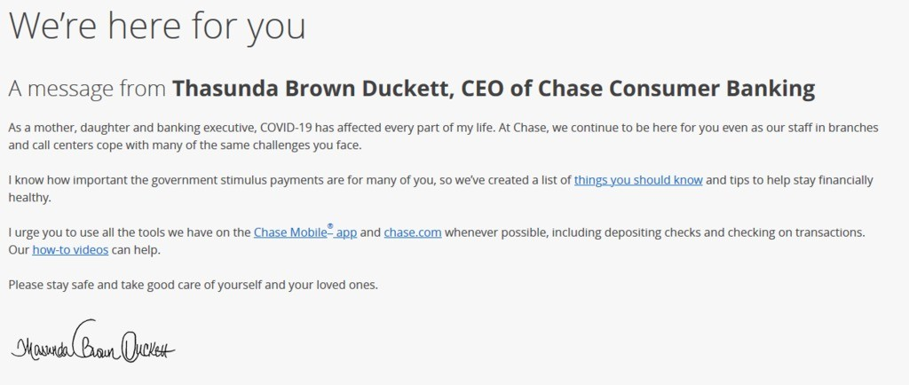 We're here for you. A message from Chase bank.