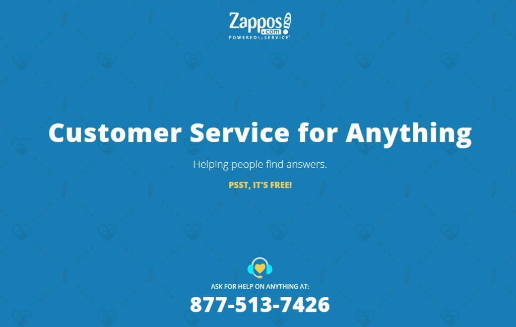 Zappos note: Customer service for anything.