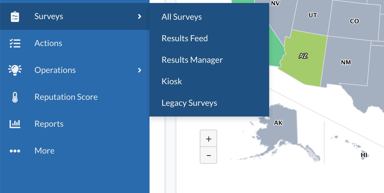 Survey dropdown navigation.