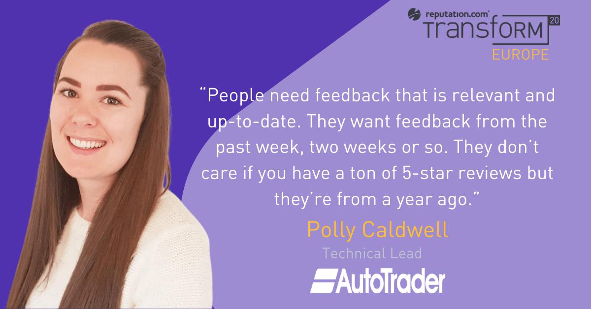 Polly Caldwell at Auto Trader on customer reviews