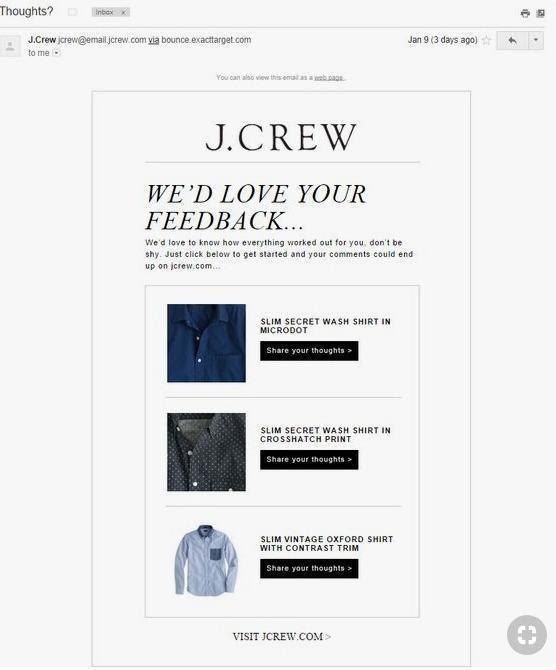 J Crew website image